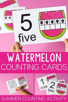 Life Over C's shares some free printable counting cards. These watermelon counting cards are perfect for summer. Grab these teaching resources. Math Activities For Kids, Counting Activities, Preschool Lessons, Preschool Activities, Summer Activities, Preschool Education, Preschool Printables, Writing Activities, Watermelon Activities