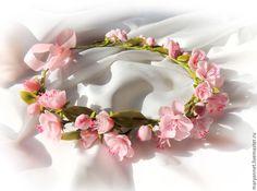 """Купить венок """"Розовое облако"""" - розовый, сакура, цветочный венок, свадебный венок"""