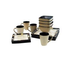 Square Dinner Set 16 Piece Dinnerware Plates Bowls Cups Kitchen Stoneware  Dishes