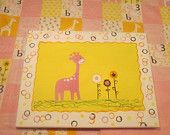 GIFT SET--Reversible flannel and fleece baby blanket (solid pink back) WITH coordinating 11x14 acrylic giraffe painting on canvas