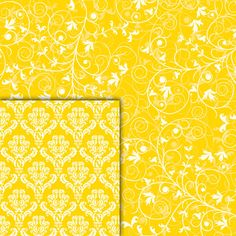 Download Digital Paper Pack Damask & Swirls Bright Yellow Online | Gidget Designs