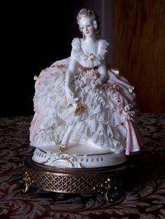 Antique Dresden Porcelain Lace Figurine Brass Base Boudoir Lamp Part in Antiques, Decorative Arts, Ceramics & Porcelain, Figurines | eBay