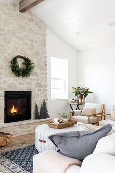 Home Fireplace, Fireplaces, Farmhouse Fireplace, Fireplace Design, Living Room Decor, Living Spaces, Apartment Decorating On A Budget, Studio Mcgee, Christmas Home