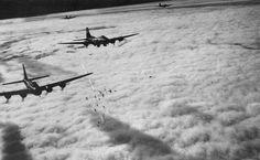 Boeing B-17F radar bombing through clouds over Bremen, Germany, on Nov. 13, 1943.