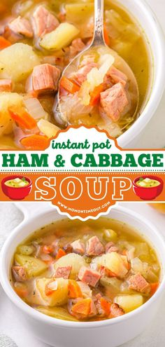 Learn how to make Ham and Cabbage Soup in the Instant Pot! Packed with flavor and veggies, this easy soup recipe will become one of your go-to dinner ideas. The whole family will love this hearty, satisfying comfort food! Ham And Cabbage Soup, How To Make Ham, Easy Soup Recipes, Soups And Stews, Thai Red Curry, Instant Pot, Cooker, Veggies, Ethnic Recipes