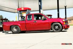 Street Outlaws Tina Pierce's Twin Turbo Chevy Colorado Pickup refueling in Byron, Ill. during the '15 Hot Rod Drag Week. #tinapierce #streetoutlaws #colorado #355nation #truck #chevy #turbo #hotrod