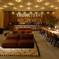 Located in the Shibuya district of Tokyo, the Trunk Hotel is an ode to its fashionable neighborhood. The hotel has a strong emphasis on local goods. Everything from the custom-made furniture to the coffee served at in the lounge is. Ace Hotel, Hotel Lounge, Office Lounge, Cafe Bar, Cafe Restaurant, Eco Deco, Tokyo Design, Tokyo Hotels, Cafe Style