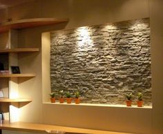 tv niche background idea like the stone idea - Wall Niches Designs