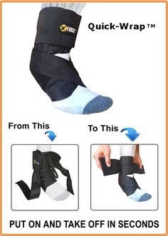 Quick-Wrap Ankle Brace Support.   - Extremely Easy To Put On and Take Off. It comes with Stabilizer Straps and Lateral Plastic Inserts for a Strong Support. Play any kind of sports with Quick-Wrap brace and give your ankles the protection they deserve. Take 5% off on this ankle brace - shipping is free within the U.S.