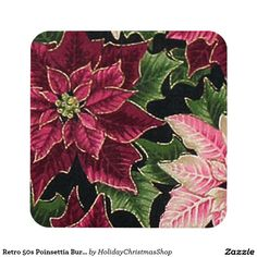 Retro 50s #Poinsettia Burgundy Pink Drink #Coasters #Christmas #HomeDecor #HolidayGifts #Gifts #Shopping