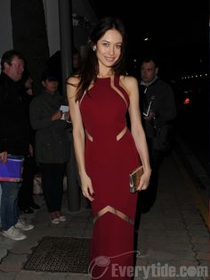 【Shop Everytide.com Best Celebrity Dress】Wholesale Sheath / Column High Neck Floor-length Red  Celebrity Dresses Inspired By Olga Kurylenko
