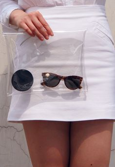 Clear Envelope Clutch Purse Bag Handbag - White Transparent - Women Ladies - Handmade on Etsy, $9.98
