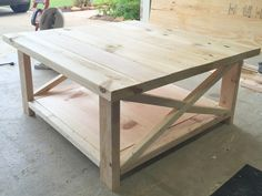 Modified plan for rustic X coffee table - Table Talk - Wood Coffee Table Rustic Square Coffee Table, X Coffee Table, Coffee Table Plans, Rustic Table, Diy Outdoor Table, Outdoor Coffee Tables, Woodworking Outdoor Furniture, Diy Furniture, Woodworking Plans