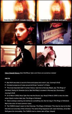 Theory of Rose and Clara /// makes sense.I think that rose/bad wolf probably created all the versions of clara to protect the doctor.<- Name of the Doctor explains her, but the coincidences still lead me to connect them. Rose And The Doctor, Clara Oswald, Don't Blink, Rose Tyler, Torchwood, Geronimo, Bad Wolf, Time Lords, Geek Out