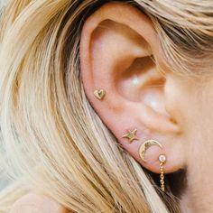 Cute Moon Star Heart Ear Stud Earrings Women's Tiny Jewelry Fashion Gift in Jewelry & Watches, Fashion Jewelry, Earrings Piercing Face, Piercing Tragus, Cute Ear Piercings, Heart Piercing, Triple Lobe Piercing, Three Ear Piercings, Piercings Bonitos, Ear Jewelry, Cute Jewelry