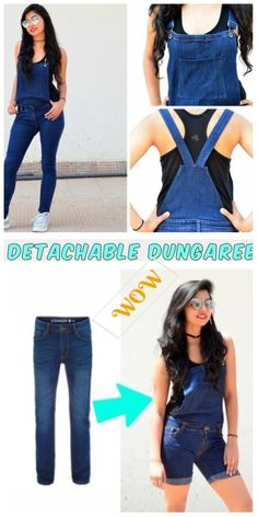 Ways to Alter Old Jeans into New Fashion for Your Wardrobe Stylish Ways to Alter Old Jeans into New Fashion-Turn Old Jeans Into Detachable Dungaree Overalls Tutorial Jeans Refashion, Diy Clothes Refashion, Fashion Sewing, Diy Fashion, Overalls Vintage, Ugly Outfits, Moda Chic, Clothing Hacks, Clothes Crafts