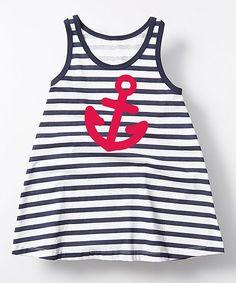 Navy & White Stripe Anchor A-Line Dress - Toddler & Girls