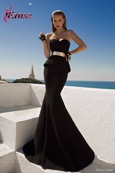 Galia Lahav New Evening Dress Hot And Sexy Black Sweetheart Evening Gown With Gold Belt LN-055 $169.00