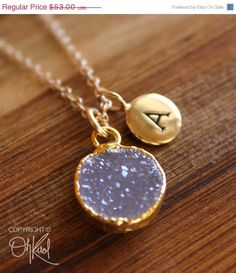 SALE 15 OFF Gold Light Purple Druzy and Hand Stamped Initial Charm Necklace - Personalized Necklace - Mauve