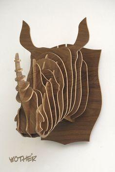 3D Woodcraft patrones rompecabezas DIY de madera Animal rinoceronte del equipamiento casero antílope cabeza taxidermia pared pegatinas decoración de la barra