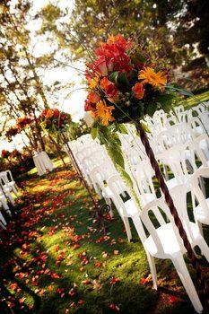 aisle decorations outside fall wedding