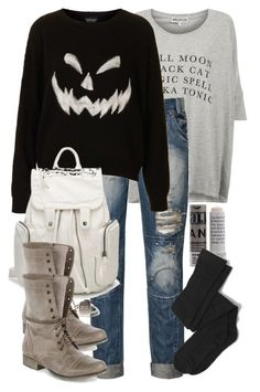 """Scott Inspired Halloween Outfit"" by veterization ❤ liked on Polyvore featuring Wildfox, Blonde + Blonde, Topshop, Steve Madden and Korres"