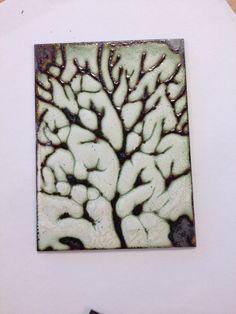 Copper, enamelled using white liquid enamel design inspired by skeleton leaves.. by Louise Cooke