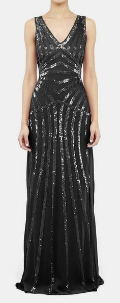 Another amazing evening gown - Nicole Miller Maze Sequin Gown Silk Dress, Dress Skirt, Cute Dresses, Prom Dresses, Long Sleeve Gown, Festa Party, Sequin Gown, Beautiful Gowns, Dress Me Up