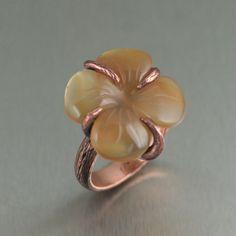 I Love Copper Jewelry � Carnelian Dogwood Handmade Copper Ring Beauty in...
