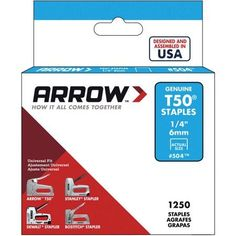 Arrow Fastener T50 1/4 inch Staples, Multicolor