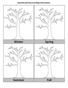 This file is geared towards young children. Depicted are 4 trees with bare branches and labels for each season. Kids decorate each tree to show the correct season.