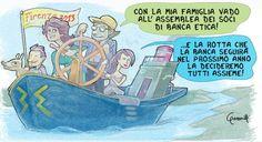 """Vignetta per BancaEtica, iniziativa """"#conimieisoldi – Cambiamo la finanza azione per azione"""" È un gioco, ma serio: scrivi e vota le tue piccole buone azioni in campo finanziario per vederne i risultati concreti."""