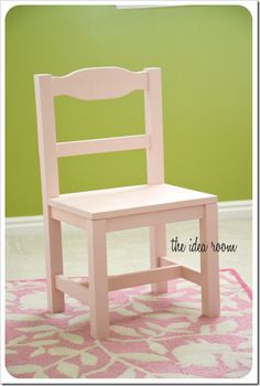 Child chair | Ana White. Just the pic, modify the chair plans to look like this. Use 2x2s for the legs and a flat seat made from one piece of wood. So cute!