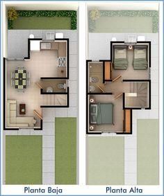 Planos de Casas y Plantas Arquitectónicas de Casas y Departamentos: Plano de casa de dos pisos y dos recámaras