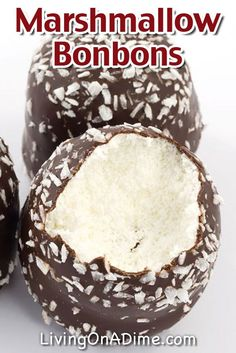 """Dip marshmallows in melted chocolate, then sprinkle them with coconut """"snow"""" for a sweet wintery treat."""
