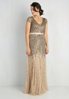 Sparkle Within Dress. Capture the twinkle in your love-filled eyes in your look, courtesy of this beautifully beaded and sequined gown by Adrianna Papell! #multi #prom #modcloth
