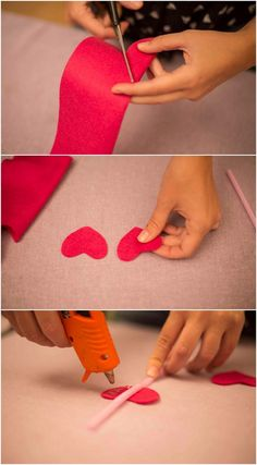 decorate drinking straws for valentine's day with felt hearts