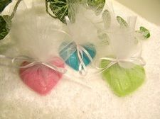 Heart shaped soaps for wedding favours.  Our heart shaped pendants make great, low-cost, gift tags too.