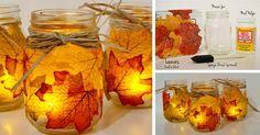 Kreatívny DIY nápad a návod urob si sám na jesennú dekoráciu v podobe svietnikov. Svietniky z listov, jesenný dekoračný svietnik, handmade inšpirácia