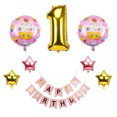 Lincaier Happy Birthday Balloons Foil Number Balloons Banner First Baby Boy Girl Party Decorations My 1 Year Supplies One Year Birthday, Baby 1st Birthday, 1st Birthday Parties, Girls Party Decorations, First Birthday Decorations, Foil Number Balloons, Happy Birthday Balloon Banner, Water Balloons, Baby Boy