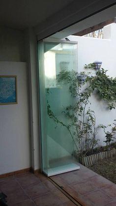 Glass Balcony Railing, Outdoor Restaurant Patio, Folding Patio Doors, Rooftop Terrace Design, Door Fittings, Front Door Design, Facade House, Home Design Plans, Sliding Glass Door