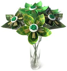 Sunset colors bunch of 6 loose paper flowers by alwaysgiveascrap patricks day loose paper flowers with stems 6 greens white gold mightylinksfo