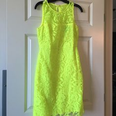 ⚡️FLASH SALE ⚡️J.Crew Neon Yellow Lace Dress Worn only one time! Beautiful lace dress from J. crew that adds great color to any event :) J. Crew Dresses Midi