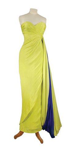 Jean Desses Strapless Evening Dress   French, circa 1960  Chartreuse silk chiffon