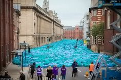 The 'Sea of Hull' project, pictured, was created by New York-based artist Spencer Tunick and is believed to be the largest of its kind ever to be held in the UK