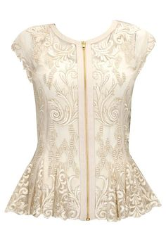 Beige sheer embroidered peplum top available only at Pernia's Pop-Up Shop.
