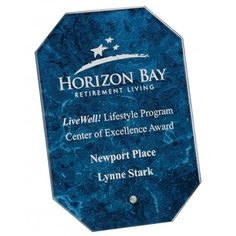 Our Blue Glass Octagon Award features a blue marble glass engraving area with frosted white engraving. is x and includes free personalized engraving. Center Of Excellence, Excellence Award, Glass Awards, Glass Plaques, Glass Picture Frames, Glass Engraving, Marble, Blue, Glass Photo Frames