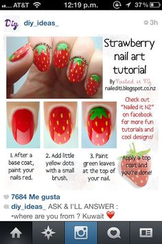 Strawberry nail art tutorial.