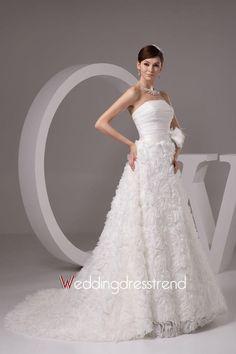 Fairy Sweep Train Ruched Flower Wedding Dress http://www.weddingdresstrend.com/en/fairy-chapel-train-ruffled-appliqued-wedding-dress.html #Wedding #dress