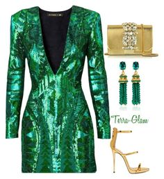"""New Year's Ideas"" by terra-glam ❤ liked on Polyvore featuring Balmain, GEDEBE, Giuseppe Zanotti and Oscar de la Renta"